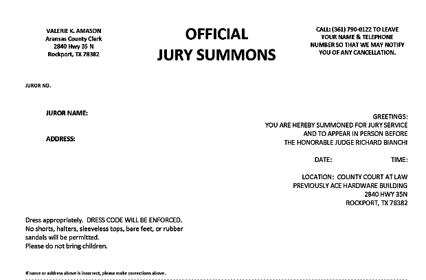 Aransas county jury summons information county clerk sample jury summons thecheapjerseys Gallery