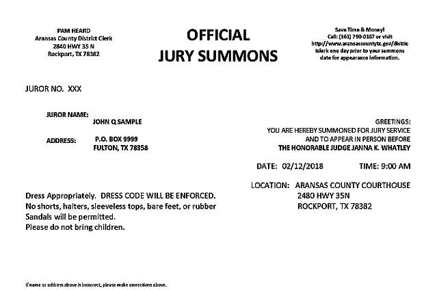 Aransas county jury summons information district clerk sample jury summons thecheapjerseys Gallery