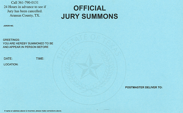 Aransas County Jury Summons Information
